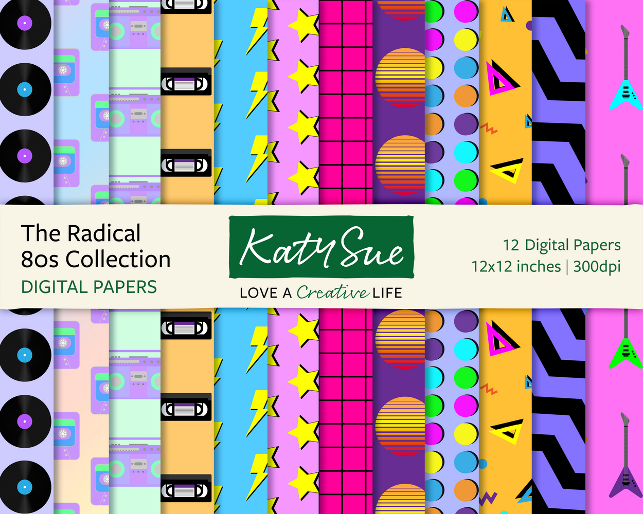 The Radical 80s Collection | 12x12 Digital Papers