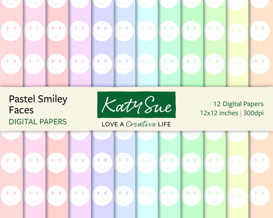 Pastel Smiley Faces | 12x12 Digital Papers