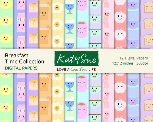 Breakfast Time Collection | 12x12 Digital Papers