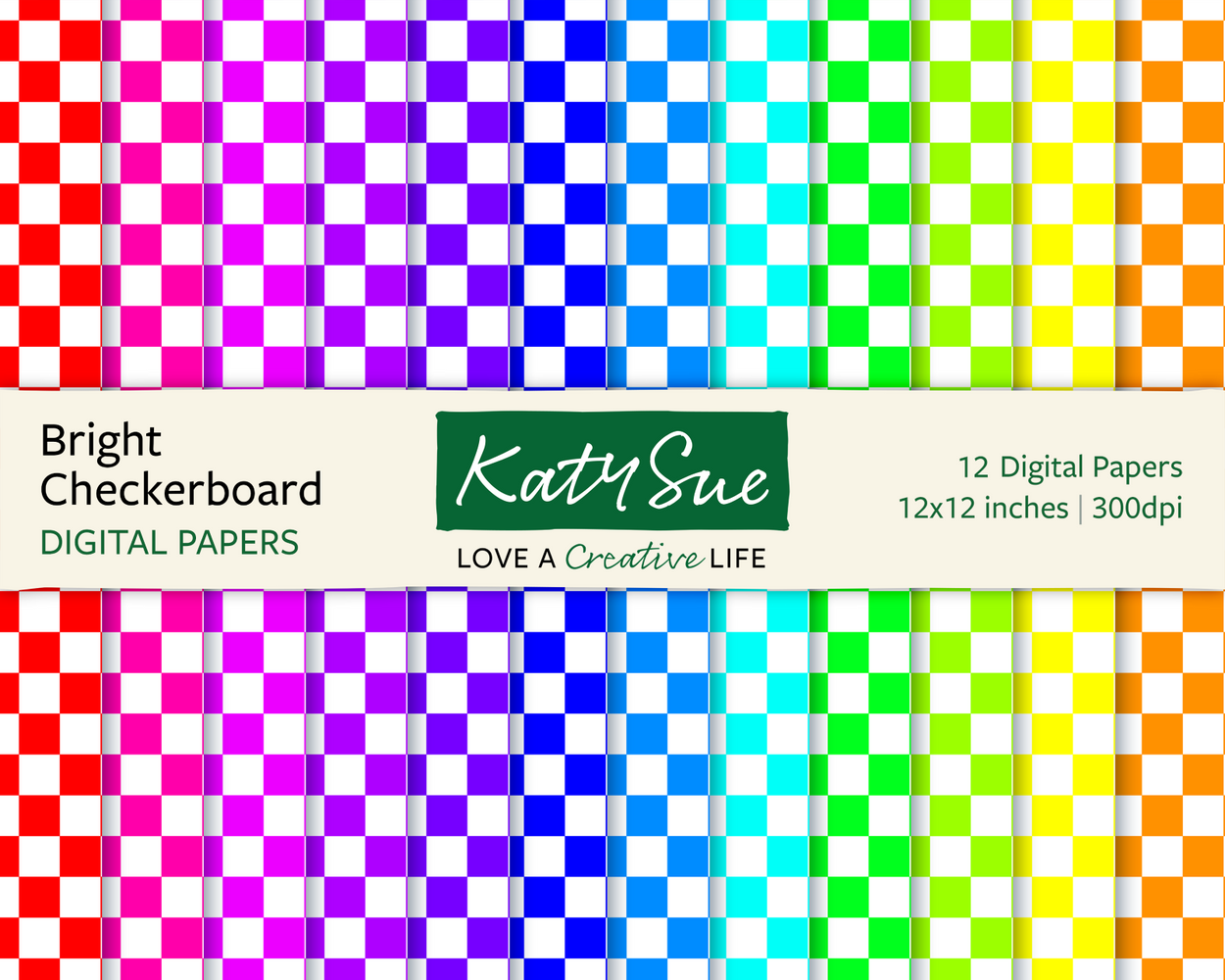 Bright Checkerboard | 12x12 Digital Papers