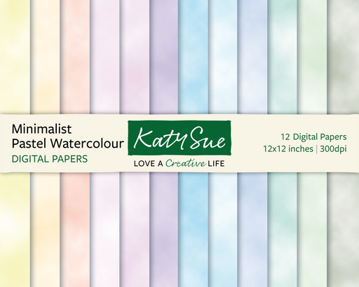 Minimalist Pastel Watercolour | 12x12 Digital Papers