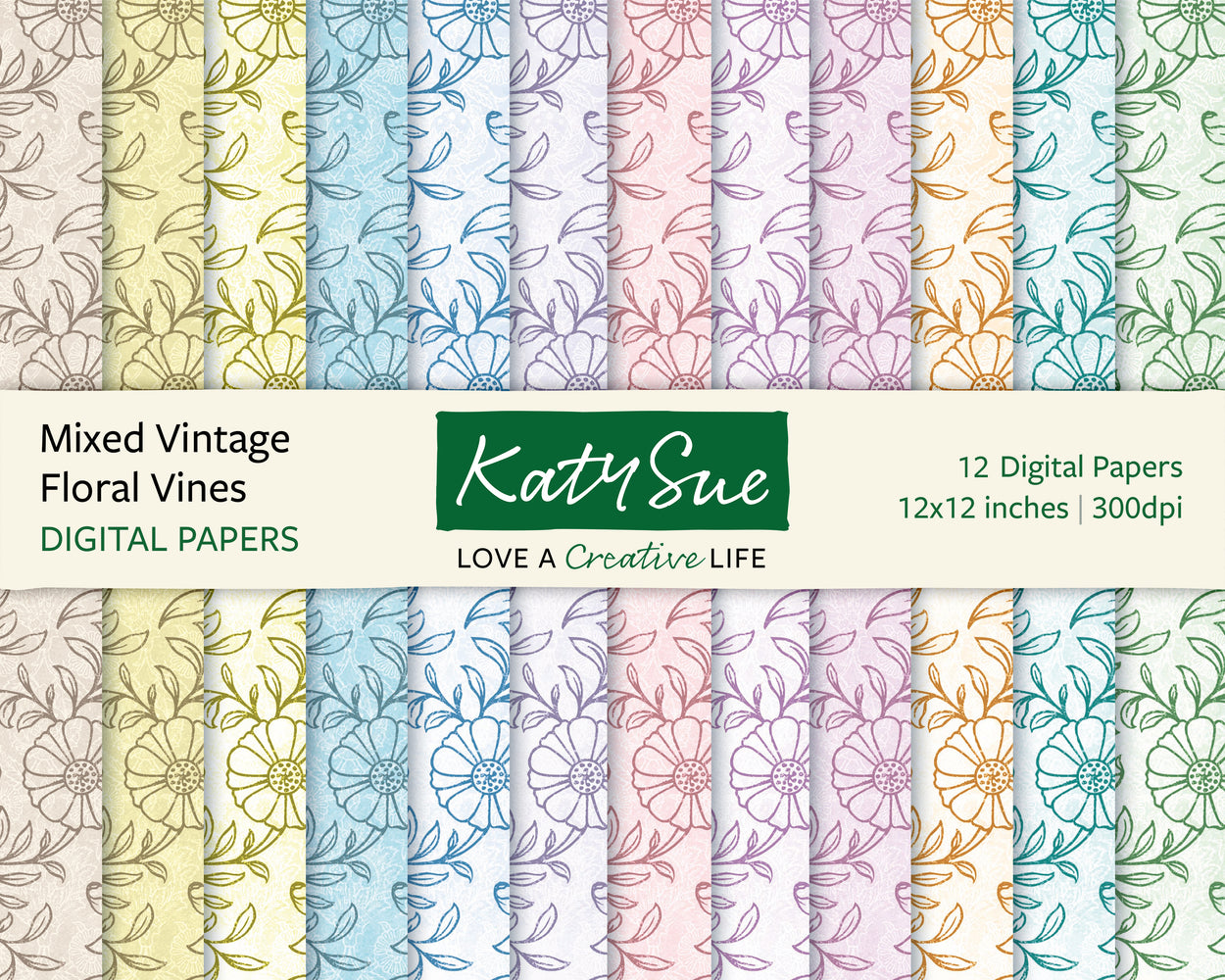 Mixed Vintage Floral Vines | 12x12 Digital Papers