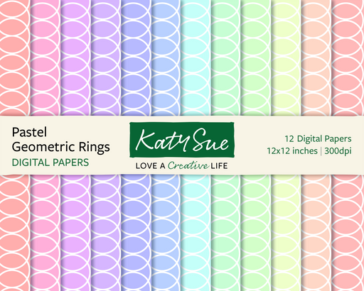 Pastel Geometric Rings | 12x12 Digital Papers