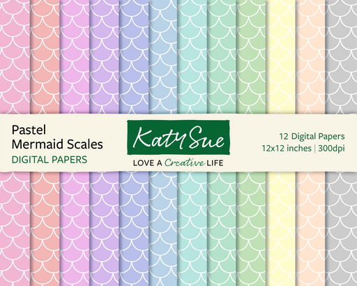 Pastel Mermaid Scales | 12x12 Digital Papers