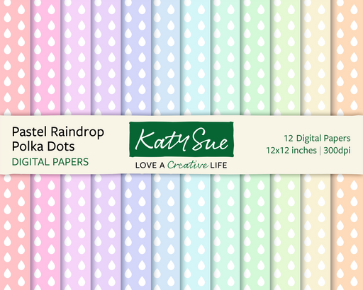 Pastel Raindrop Polka Dots | 12x12 Digital Papers