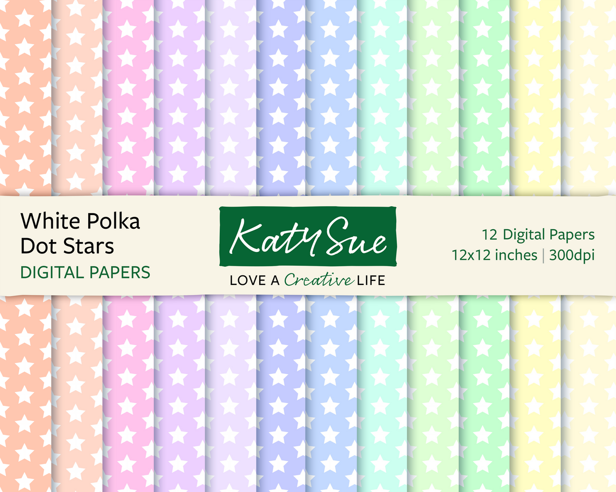 White Polka Dot Stars | 12x12 Digital Papers