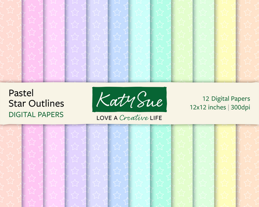 Pastel Star Outlines | 12x12 Digital Papers
