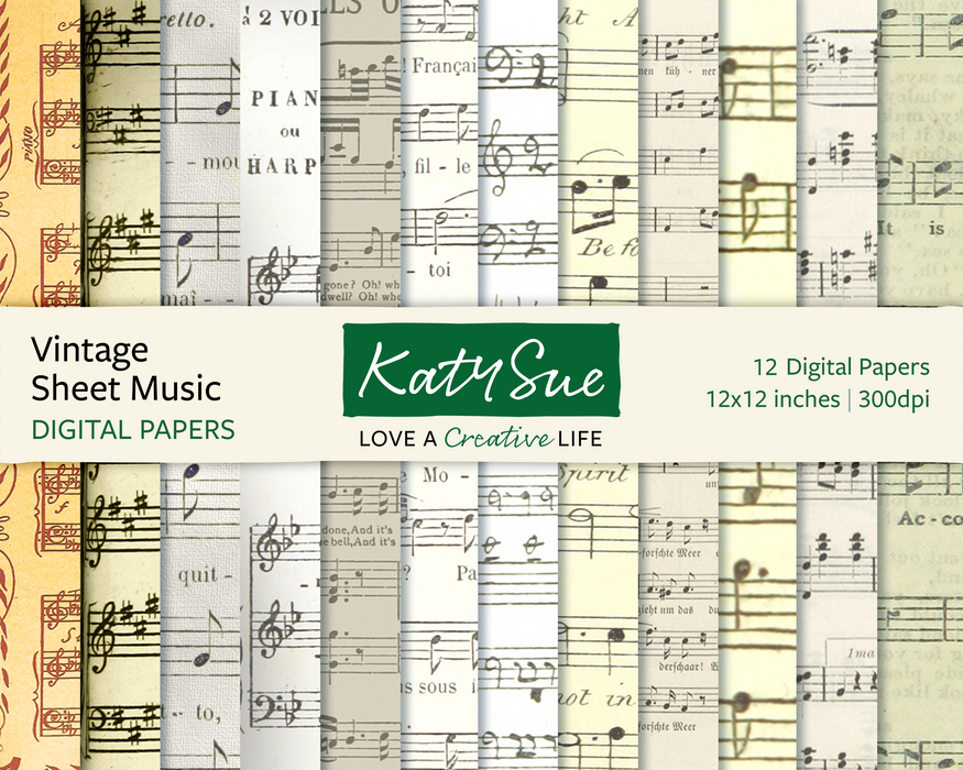 Vintage Sheet Music | 12x12 Digital Papers