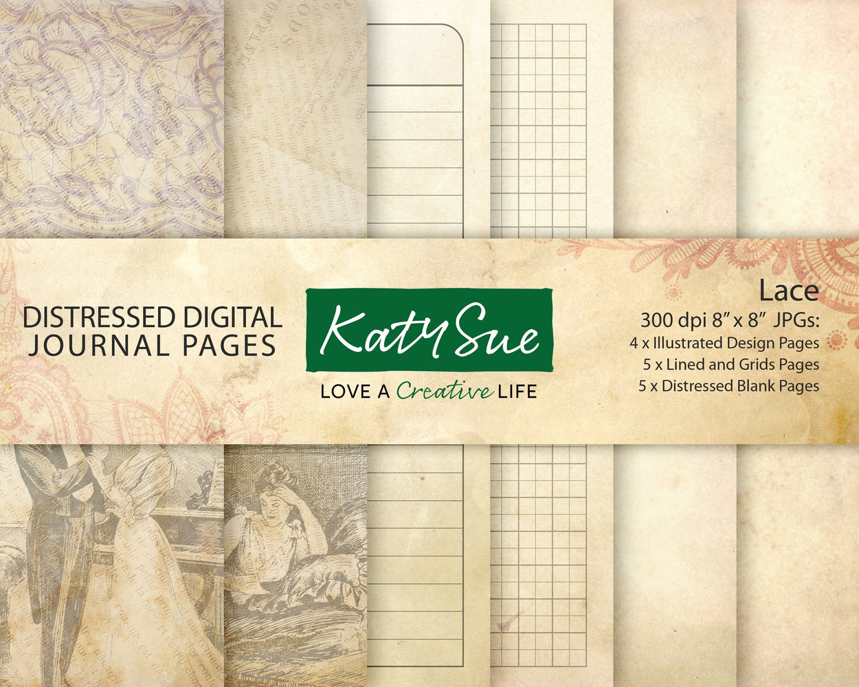 Distressed Lace | Digital Journal Pages