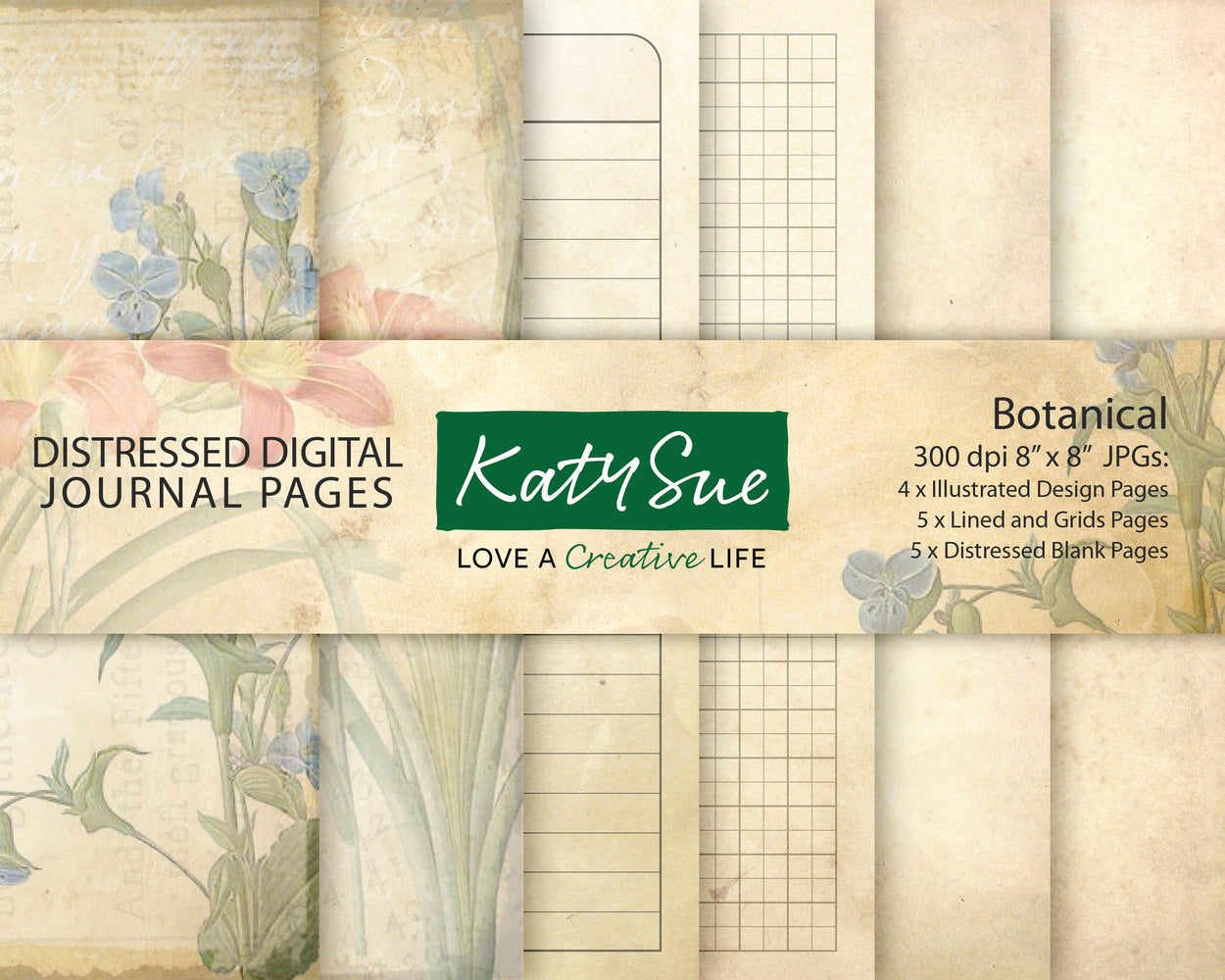 Distressed Botanical | Digital Journal Pages