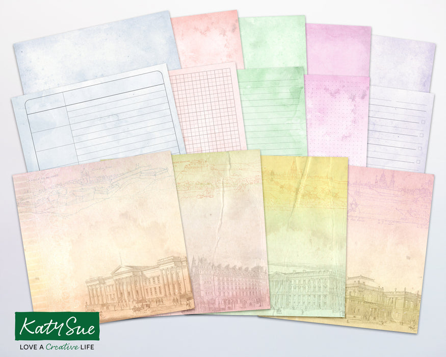 Distressed Pastel Architectural | Digital Journal Pages