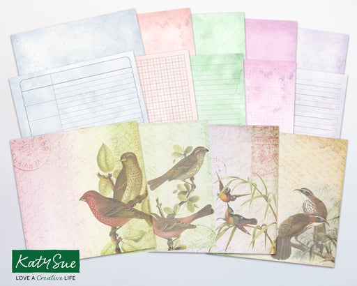 Distressed Pastel Birds | Digital Journal Pages