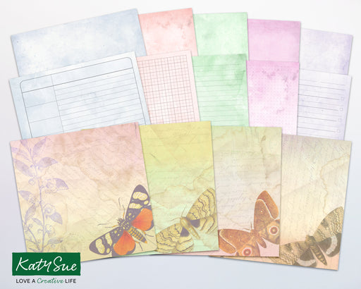 Distressed Pastel Butterflies | Digital Journal Pages
