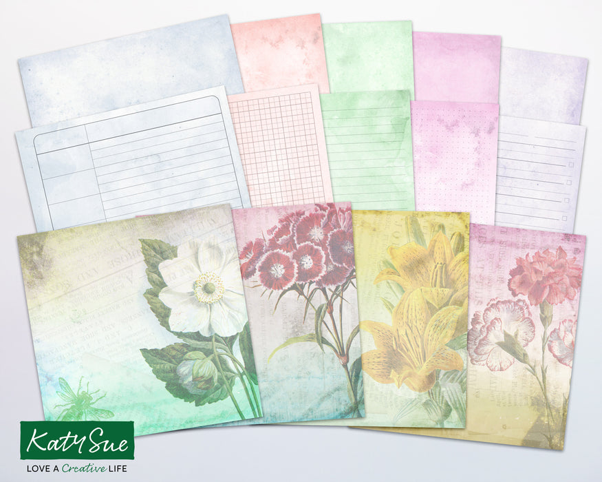 Distressed Pastel Floral | Digital Journal Pages