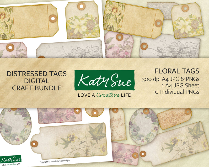 Distressed Floral Tags | Digital Craft Bundle