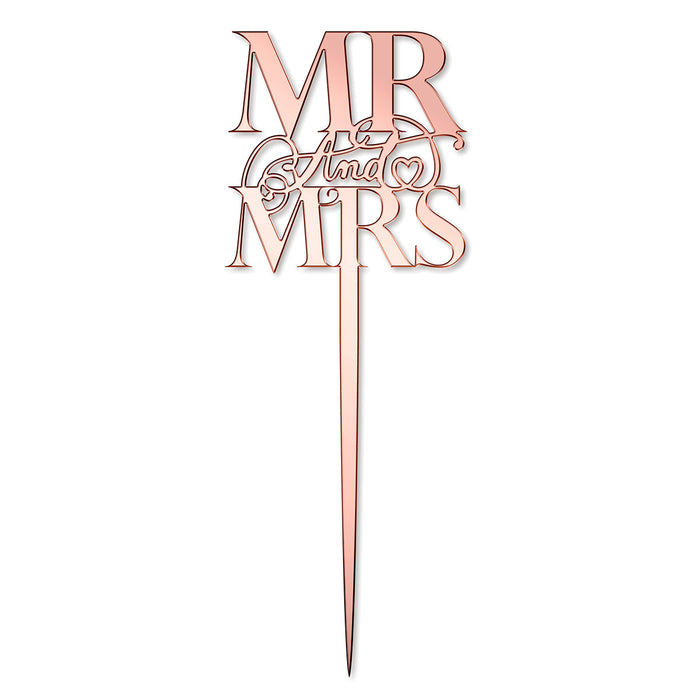 Elegant Mr & Mrs Mirror Rose Gold Cake Topper (Long Pick)