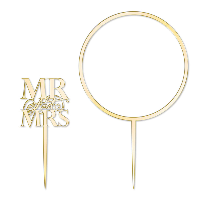Elegant Mr & Mrs and Large Flower Hoop Mirror Gold Cake Topper Set