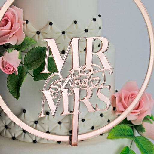 Elegant Mr & Mrs and Large Flower Hoop Mirror Rose Gold Cake Topper Set