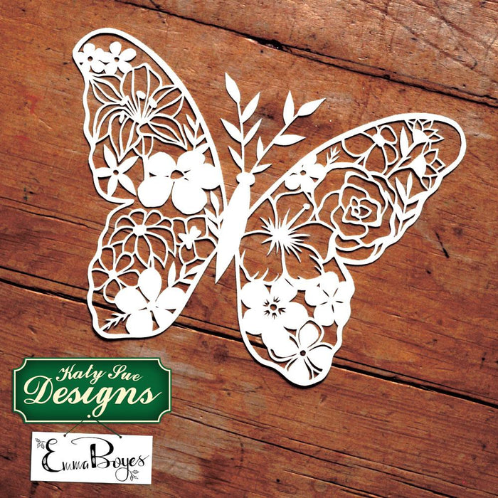 C - Paper Cut Floral Butterfly