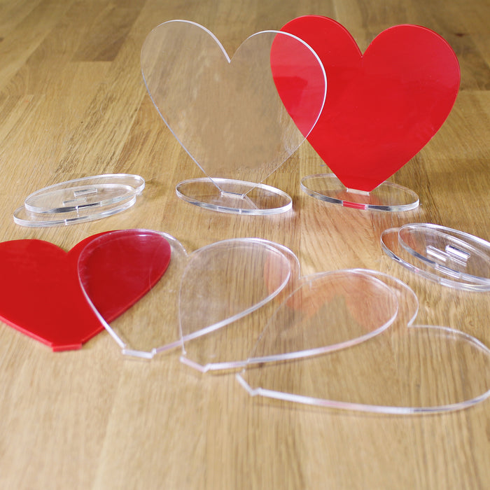 Freestanding Acrylic Shapes - Hearts (Pack of 6)