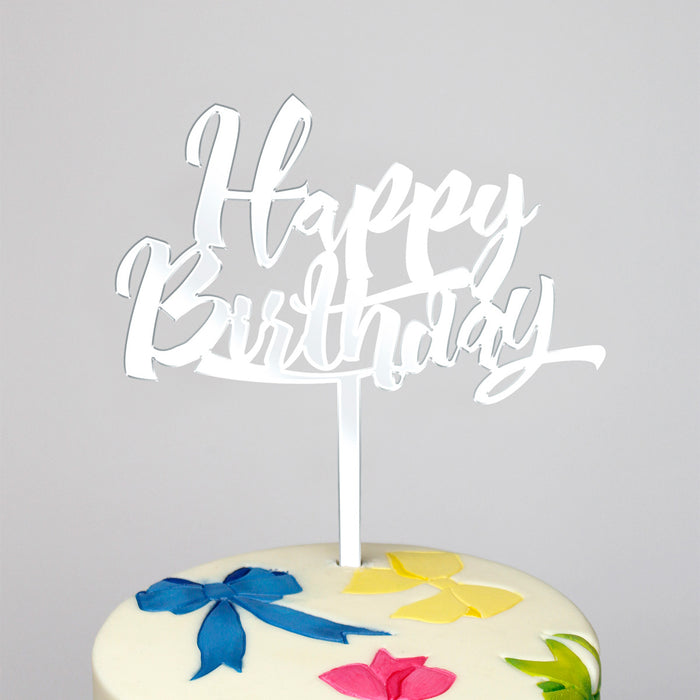 Happy Birthday Mirror Silver Cake Topper (Long Pick)