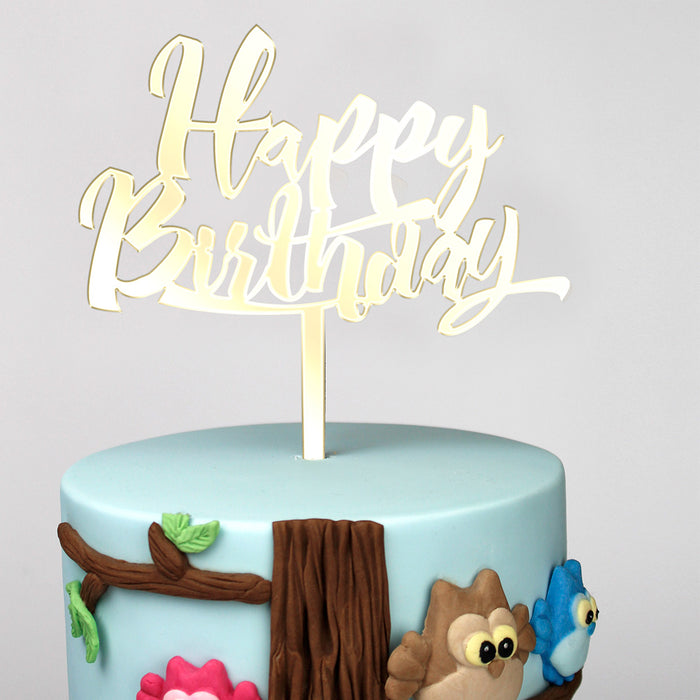 Happy Birthday Mirror Gold Cake Topper (Long Pick)