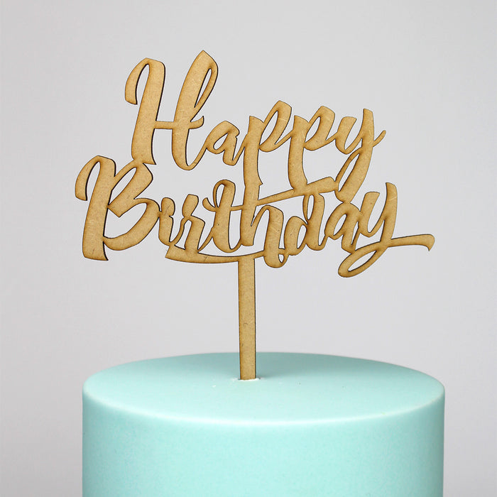 Happy Birthday Wooden Cake Topper (Long Pick)