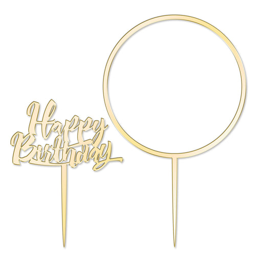 Happy Birthday and Large Flower Hoop Mirror Gold Cake Topper  Set