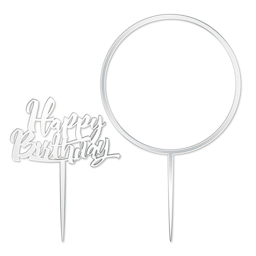 Happy Birthday and Large Flower Hoop Mirror Silver Cake Topper Set