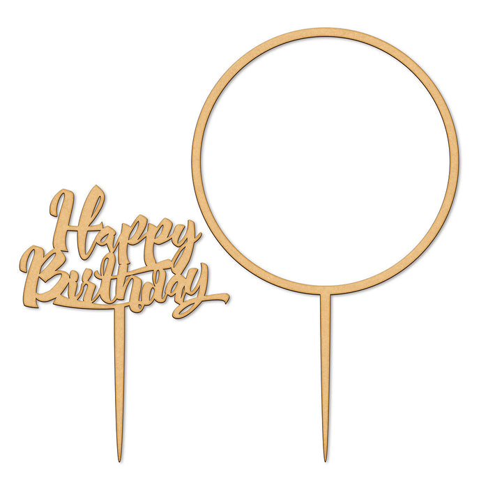 Happy Birthday and Large Flower Hoop Wooden Cake Topper Set