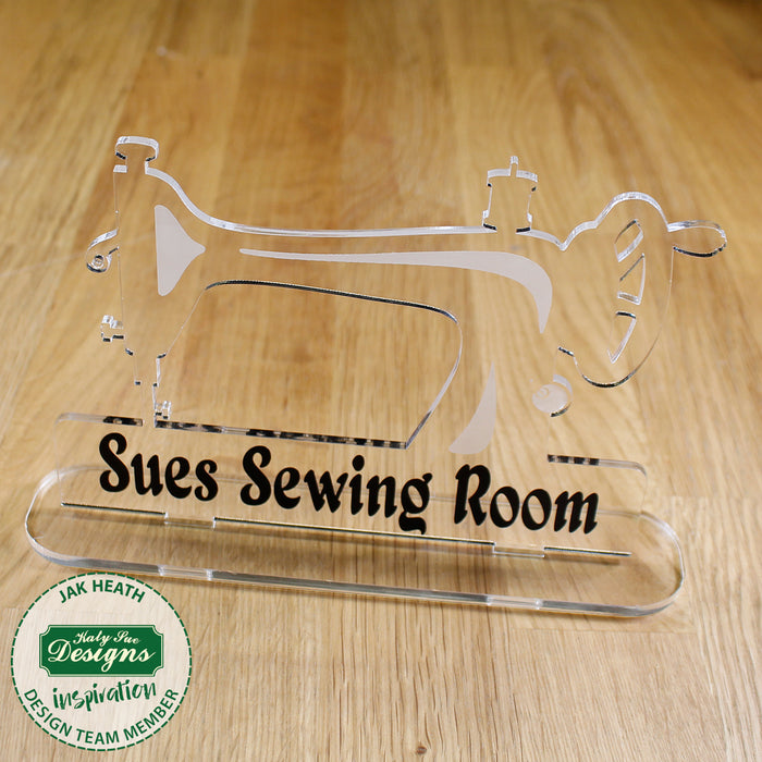 6 Freestanding Acrylic Shapes - Antique Sewing Machine, Dress and Spool Tidy