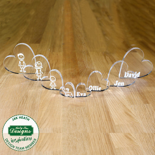 Solid 10mm Thick Clear Acrylic Standing Hearts- Set of 8