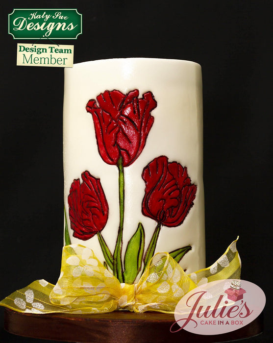 CD - Cake Decorating Idea using Tulips Silicone Embossers