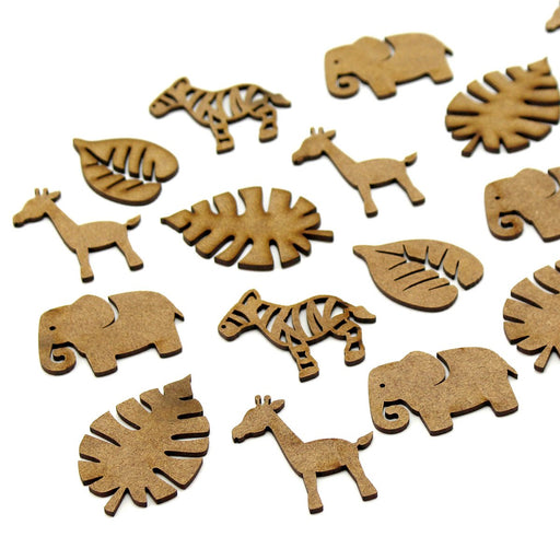 MDF Safari Animal Embellishments (Set of 20)