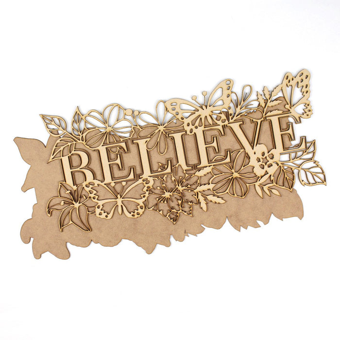 MDF Layered Art Words Believe