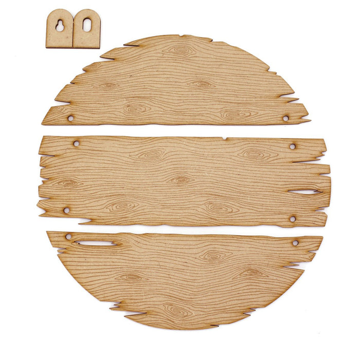 MDF Driftwood 3 Plank Circle Hanging Sign