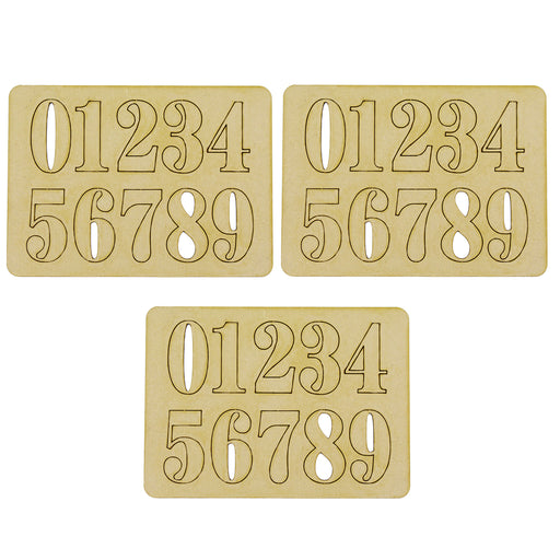 MDF Embellishment Numbers - Plain (Set of 3)