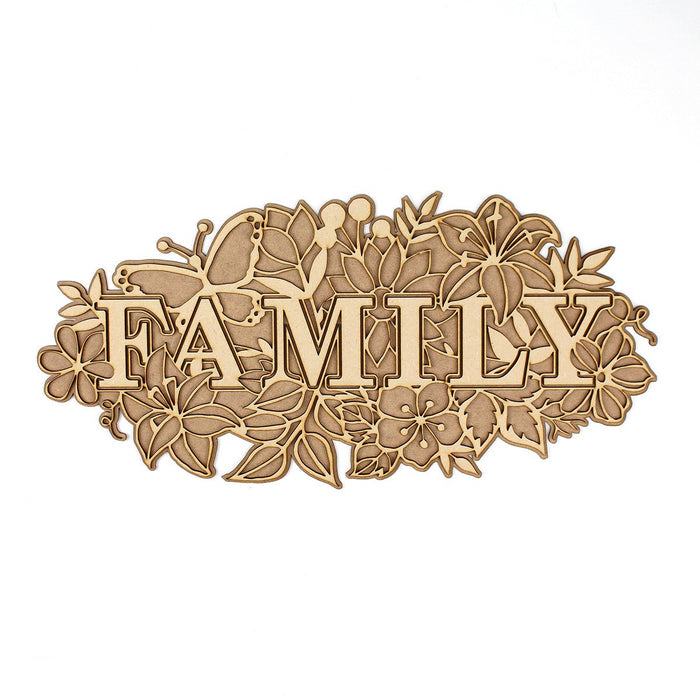 MDF Layered Art Words Family