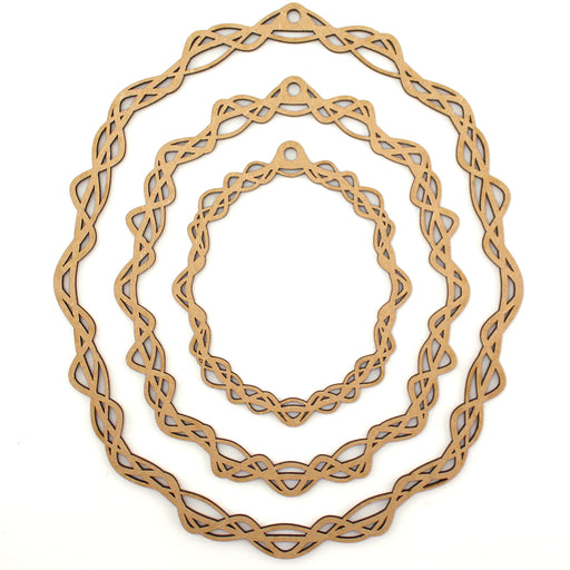 Katy Sue MDF Tangled Oval Hoops (Set of 3)