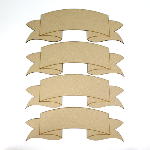 MDF Wooden Banners -  set of 4 (270mm x 85mm)
