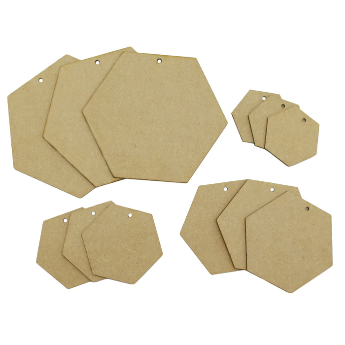 MDF Hexagon Shape Plaques (Pack of 12)