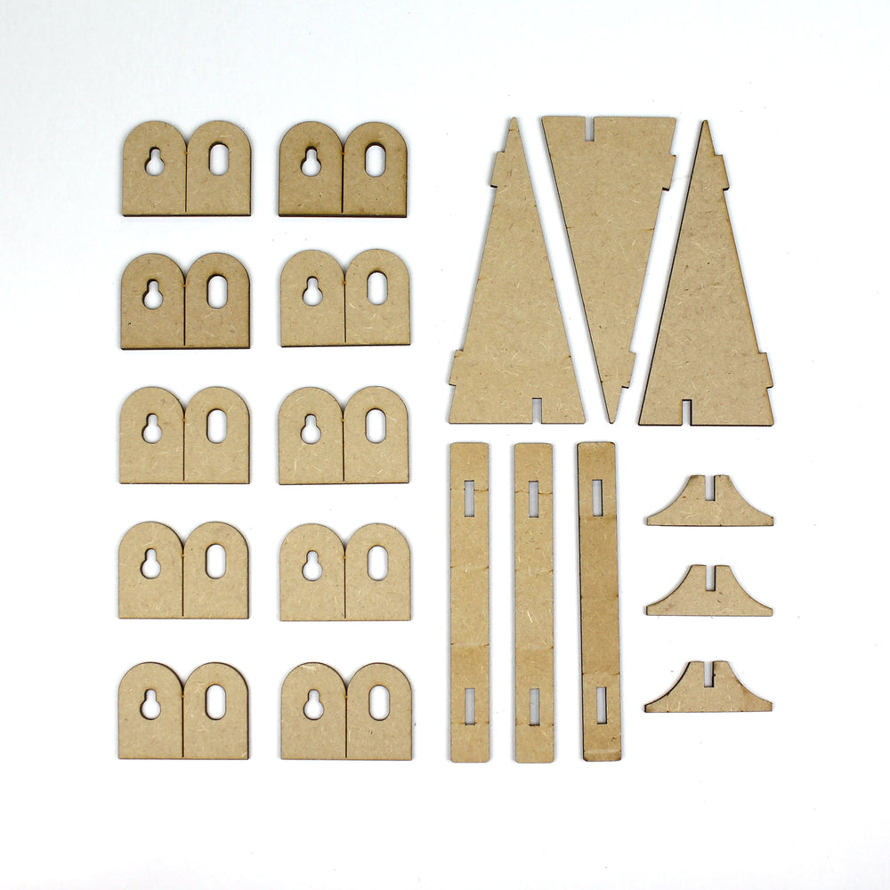 MDF Picture Stands and Hooks (10 Hooks , 3 Picture Stands)