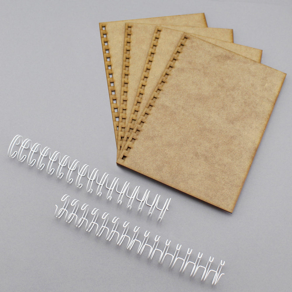 Build a Book A5 Side Punched MDF Covers & Wires-  4 Covers, 2 partially closed wires