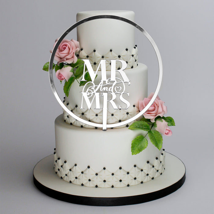 Elegant Mr & Mrs and Large Flower Hoop Mirror Silver Cake Topper Set