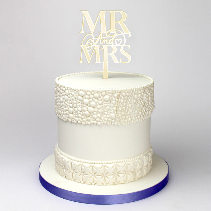 Elegant Mr & Mrs Mirror Gold Cake Topper (Long Pick)