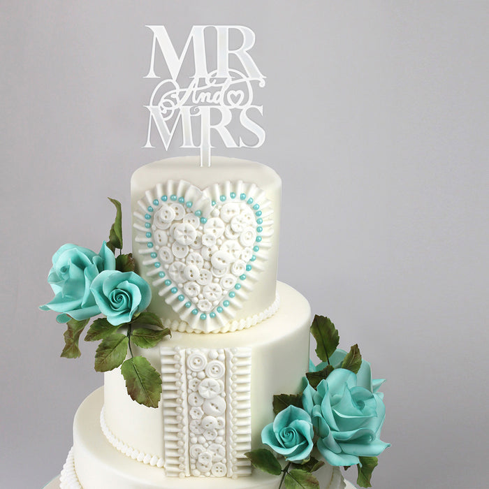 Elegant Mr & Mrs Mirror Silver Cake Topper (Long Pick)