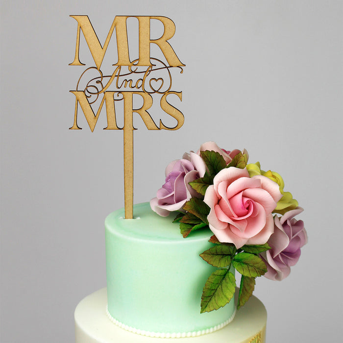 Elegant Mr & Mrs Wooden Cake Topper (Long Pick)