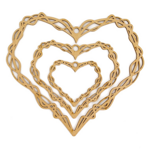 MDF Tangled Flower Heart Hoops (Set of 3)