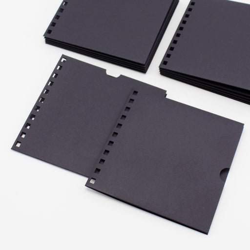 Build a Book  Punched Pockets - Pack of 12 Black 144 x144mm 240gsm
