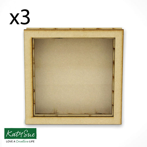 Freestanding Open Front Shadow Box - Square - Set of 3
